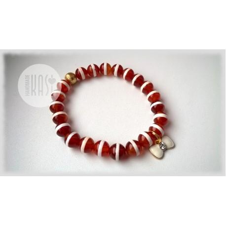 Bransoletka Handmade - Czerwony Agat Tybetański
