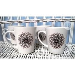 "Kubek latte z nadrukiem ""Rozeta"" - 4szt"