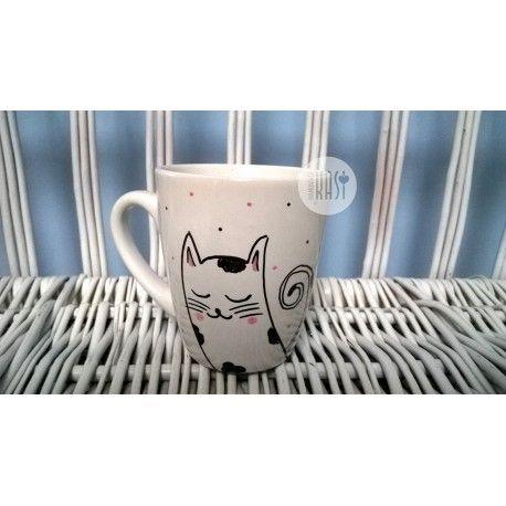 Kubek ręcznie malowany - Łaciaty Kotek