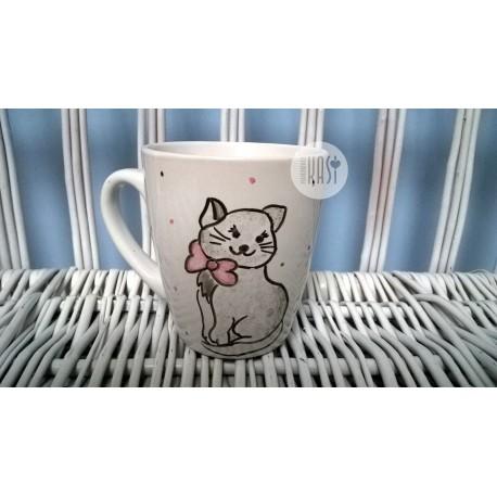 Kubek ręcznie malowany - Kotek z Kokardką