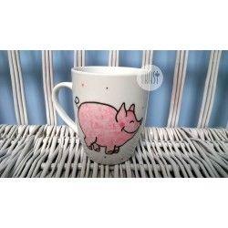 Kubek ręcznie malowany - Świnka