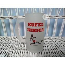 """Kufel szklany szroniony z nadrukiem """"Kufel kibica"""""""