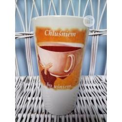 """Kubek duży latte z nadrukiem """"Chluśniem bo uśniem"""""""