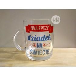 """Kubek szklany z nadrukiem """"Najlepszy Dziadek"""" 3"""